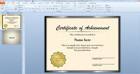 Free Diploma Certificate Template for Microsoft PowerPoint 2010 - powerpoint certificate template