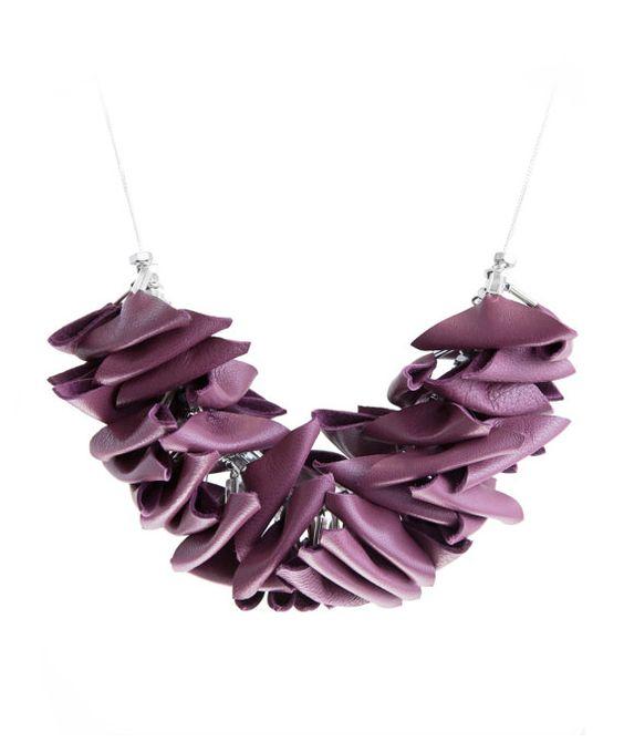 triangular burgundy leather necklace by AnnaLawskaJewellery, zł200.00