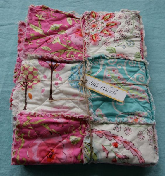 Cotton Rag Quilt for Baby Girl Pink Aqua and Cream by TillyWhistle, $80.00.  Not a big fan of rag quits but I really love this one!