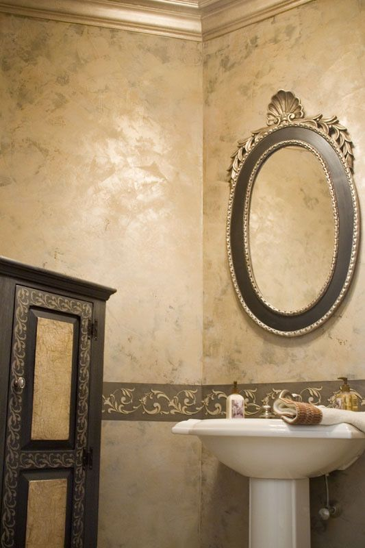 golden venetian plaster with stencil love the color by. Black Bedroom Furniture Sets. Home Design Ideas