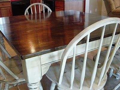 Kitchen Table Refinished With Distressed Look Heirloom White Spray Paint! Top Jacobean by Miniwax