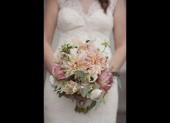 Love the soft color palette.: Dahlias Photographed, Bridal Bouquets, Wedding Bouquets, Wedding Ideas, Wedding Flowers, Soft Color, Dahlias Milk, Dahlia Bouquet