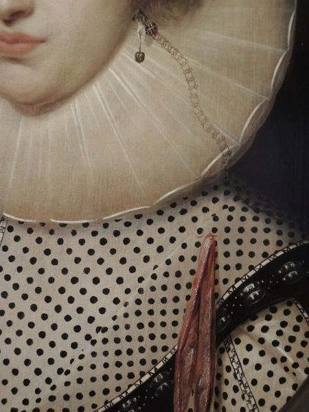 Details from Portrait of a Lady, Cornelius Johnson, 1624 #Art #Detail