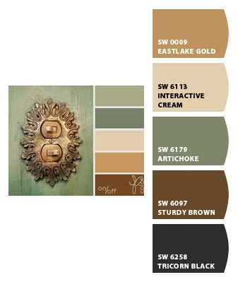 Color palette for living & dining rooms.  Green' brown and and tan with light and navy blue accent colors