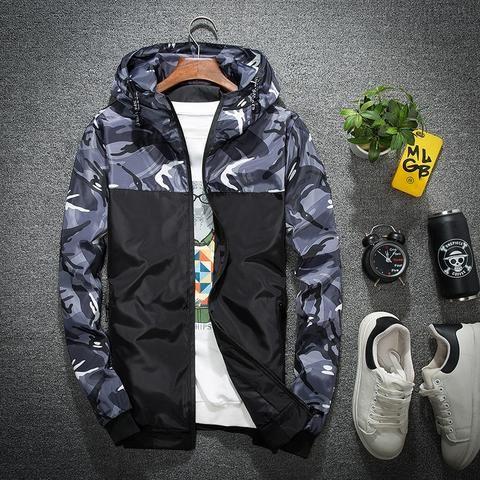 shepretty Herren Jacke Kapuzen Windbreaker Camouflage Zip-Hoodie Sportswear Laufjacke