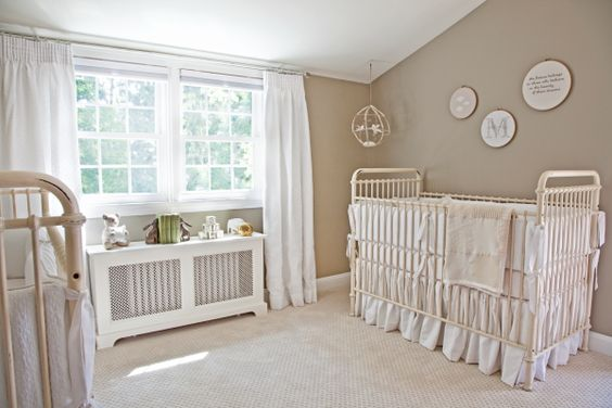Neutral Twin Nursery - love the simple details paired with the sophisticated cribs and furniture! #twins #genderneutral #nursery