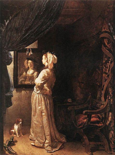 Frans van Mieris the Elder - Woman before the mirror (c.1670)