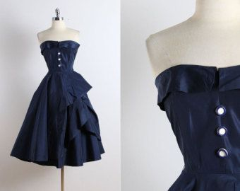 Vintage 50s dress vintage 1950s dress royal by millstreetvintage