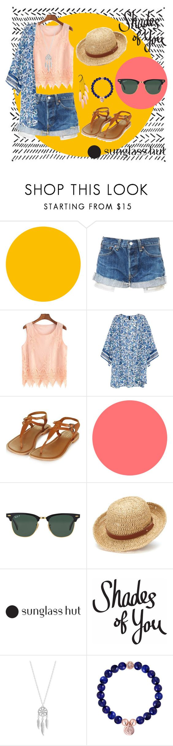 """""""Shades of You: Sunglass Hut Contest Entry"""" by alhyrotzen06 ❤ liked on Polyvore featuring H&M, Topshop, Ray-Ban, Chaps, Lucky Brand and shadesofyou"""