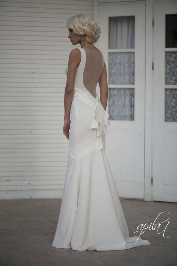 Long Wedding Dress with Train,  Ivory Long Wedding Dress with Open Back, Crepe Wedding Gown L14 on Etsy, $850.00
