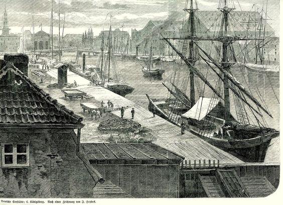 Königsberg - Pregel-Hafen Holzschnitt v 1864 GROSSFORMAT