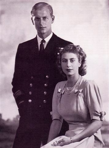 a very young elizabeth ii with an equally young prince