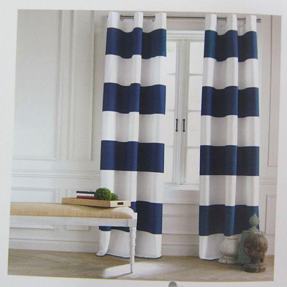 Tommy Hilfiger CABANA STRIPE Navy Blue PAIR Window Curtain Panels ...