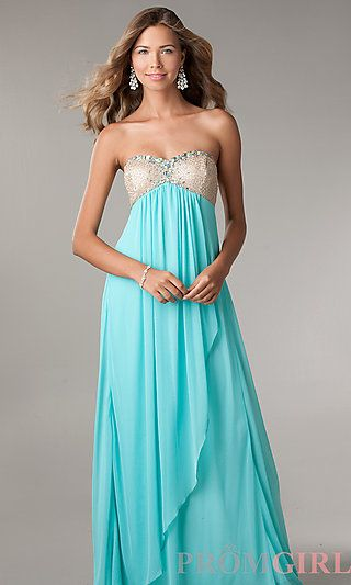 Long Strapless Prom Dress with Empire Waist by LA Glo at PromGirl ...