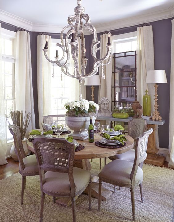 Beautifully Designed Dining Room In Lavender, Ivory And
