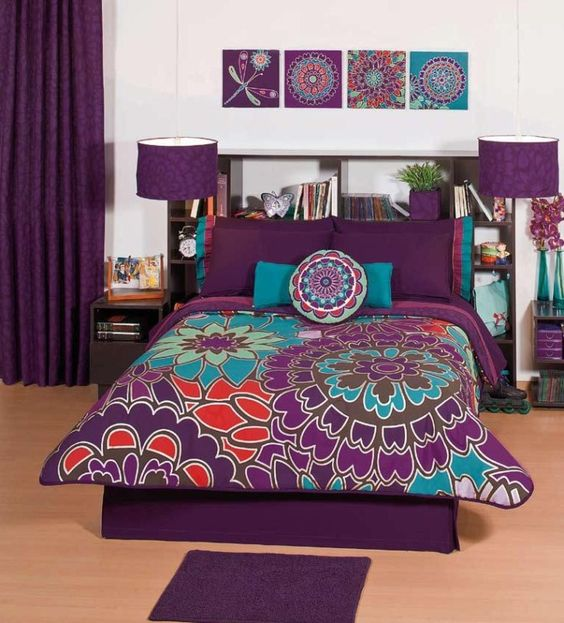 Purple Bedding Sets Comforters | New Girls Purple Flowers Comforter Sheets Bedding Set Full Queen 10pcs ...: