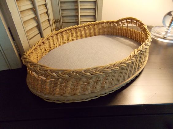 Vintage WICKER WOOD Serving TRAY Oval 15 x by VintageCreativeAccen, $16.00