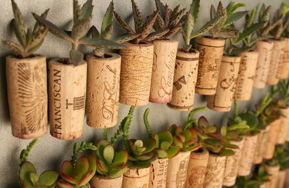 Wine corks as hanging planters? Intrigued!