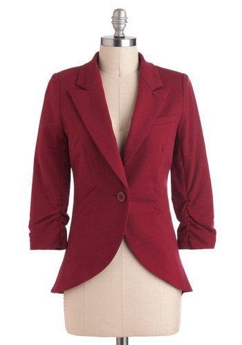 Fine and Sandy Blazer in Burgundy - Red, Solid, Buttons, Pockets, Menswear Inspired, 3/4 Sleeve, Cotton, Short, Work, Variation