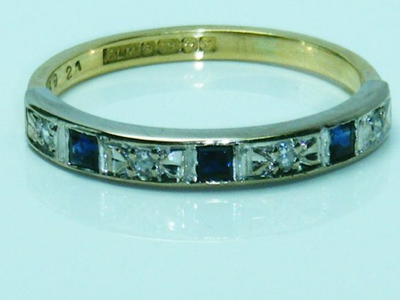 Art Deco Design 18ct gold vintage sapphire and diamond eternity ring size N in Jewellery & Watches, Vintage & Antique Jewellery, Vintage Fine Jewellery | eBay