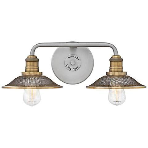 Hinkley Rigby 8 3 4 High Antique Nickel 2 Light Wall Sconce 37y21 Lamps Plus Wall Sconce Lighting Wall Lights Vanity Lighting