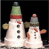 Snowman Duo, clay pots... - Imagine these painted differently: Farmer Brown (bib over-alls and a straw hat holding a forked stick) or the Easter Bunny (a pompom tail, felt ears, and a basket of mini eggs), a witch (black garments, a felt hat, and an improvised broom). The possibilities are endless.