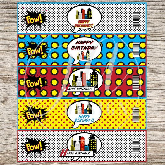 Superheros Superhero Comics Drink Labels by JeannineAubreyDesign