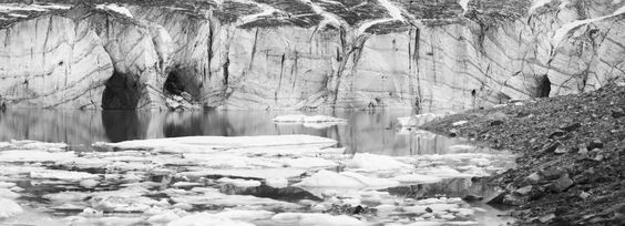 Canadian Rockies-glacier lake pan bw