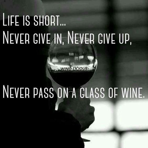 Life is short...  Never give in, never give up... Never pass on a glass of wine.