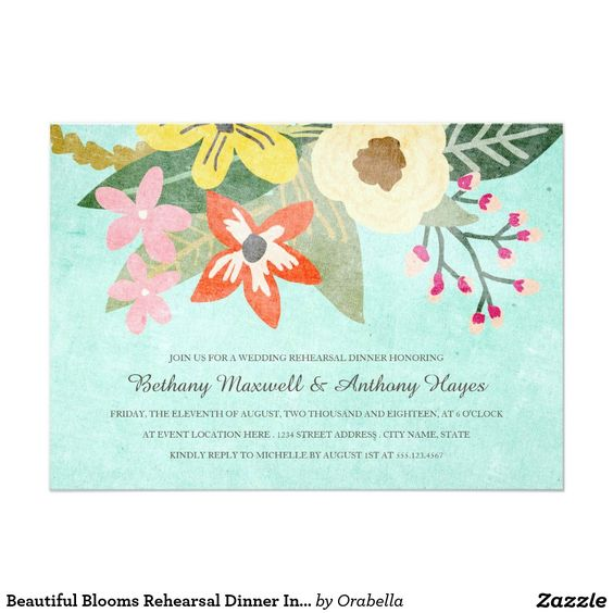 Beautiful Blooms Rehearsal Dinner Invitation
