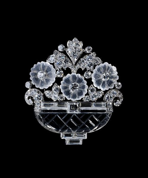 Basket of Flowers Brooch by Cartier - 1930 - platinum with rock crystal, moonstones & Diamonds