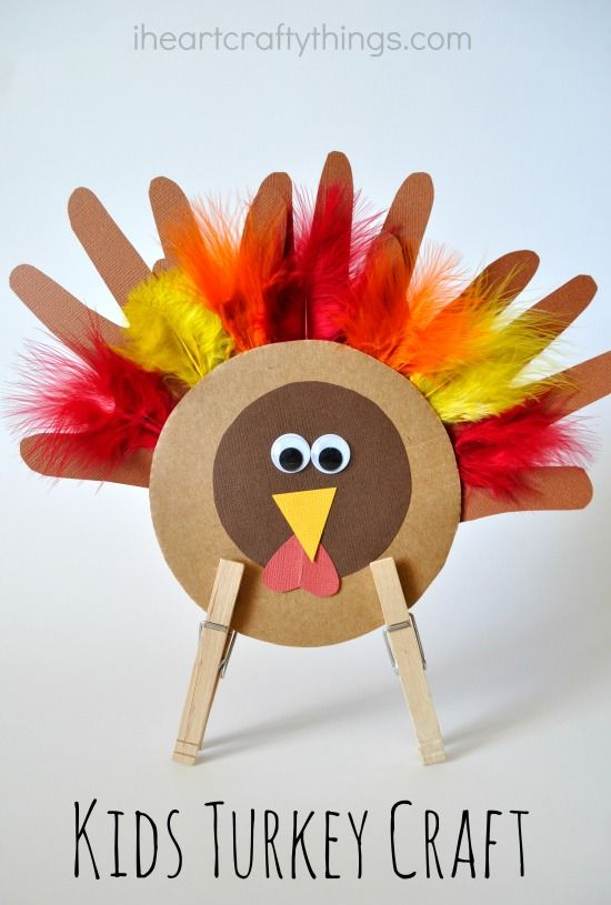 Set up the crafting table on Thanksgiving Day and kids will love making this fun Turkey Craft. [sponsored]