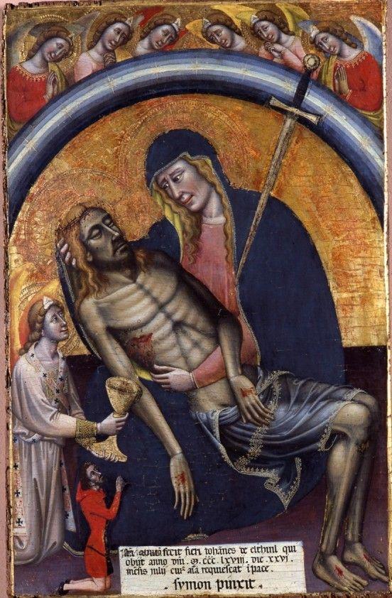 Simone dei Crocifissi.  Cristo in pietà et il donatore Giovanni di Elthini.