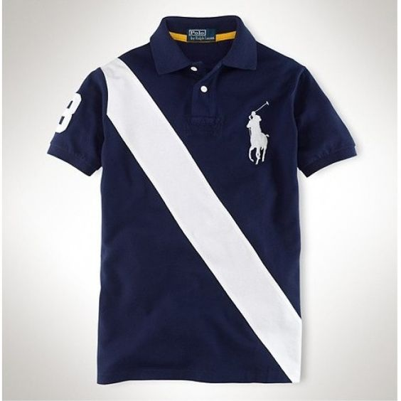 Ralph Lauren Big Pony White Diagonal Stripe Navy Breathable Polo