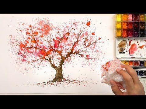 230 How To Paint A Cherry Tree Using A Plastic Bag Easy Painting Technique Sakura Youtube Sakura Painting Cherry Blossom Painting Painting