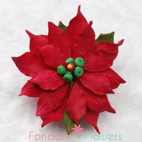3 5 Poinsettia Medium Red Sold Individually Sugar Flowers Poinsettia Fondant Flowers