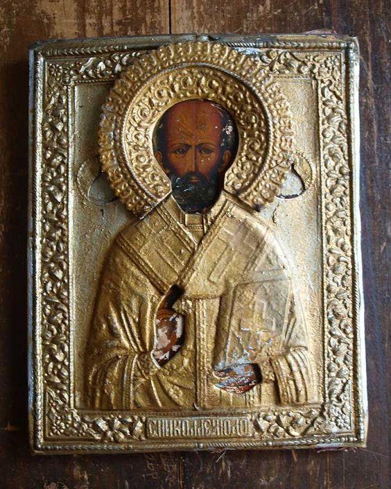 Etsy のIcon Saint Nicholas Relief Retablo EX-VOTO Byzantine Orthodox Art Antique Vintage/900(ショップ名:GliciniaANTIQUE)