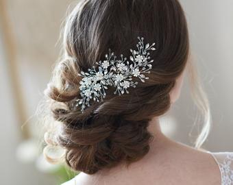 Floral Bridal Hair Clip Bridal Hair Accessory Pearl &   Etsy
