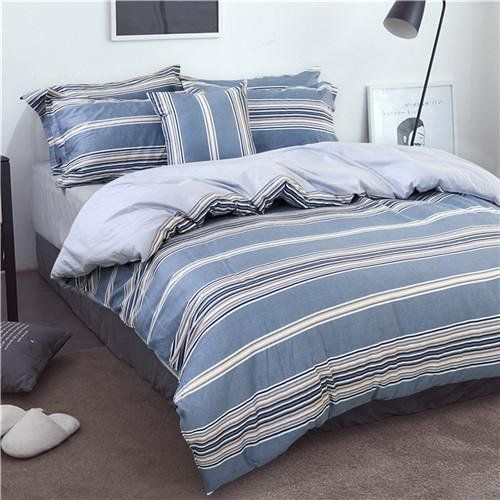 The Egalleria Cotton Simple Stripe Bedding Set For Autumn And Winter Twin Queen King Size Bed Blue Queen Bedding Set Blue Bedding Bed