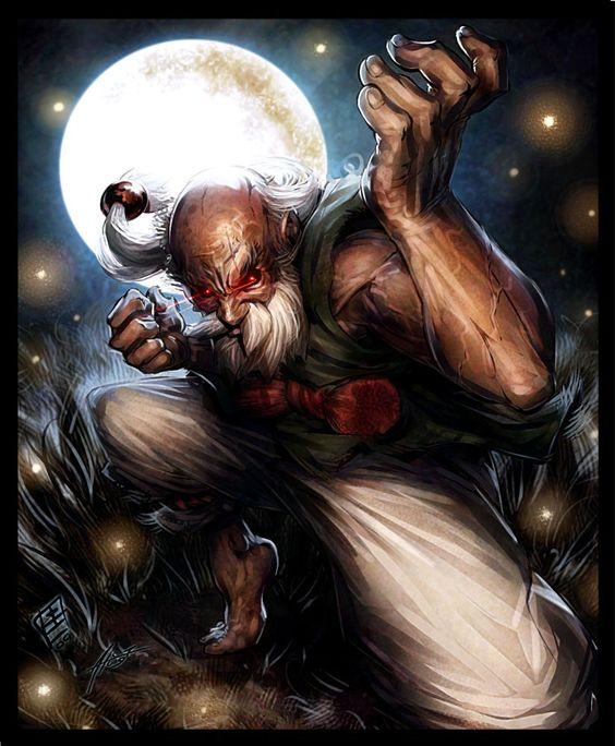 月夜の老人格闘家