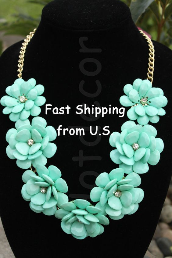 This Turquoise necklace statement necklace bubble necklace rose Flower necklace will make the statement you are looking for! All Necklaces are SHIPPED