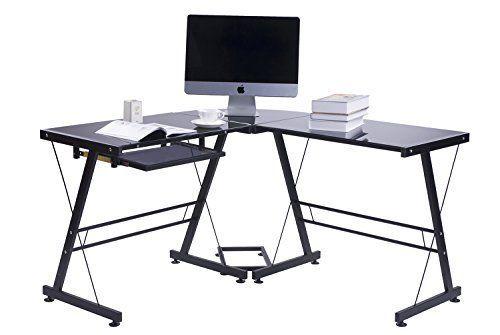 Amazon Com Merax Modern Office Computer Desk L Shaped Corner Desk With Tempered Safet L Shaped Corner Desk Black Corner Computer Desk Computer Desks For Home