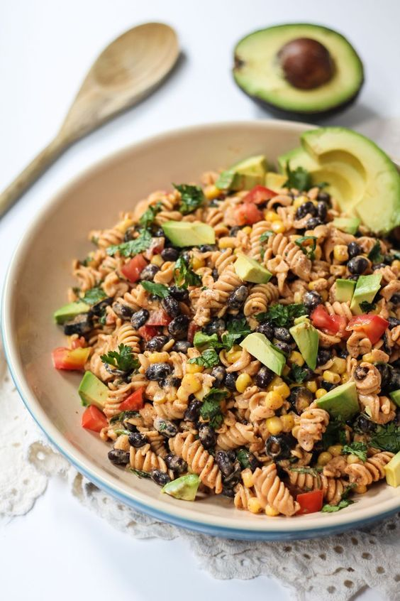Healthy Southwest Pasta Salad With Chipotle-Lime Greek Yogurt Dressing It's basically like making a burrito bowl out of pasta.Dressing