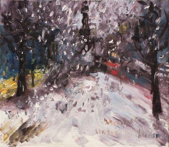 Rainer Fetting (German, b. 1949), Schneefall Unter den Linden [Snowfall, Unter den Linden], 1987. Oil on canvas, 70 x 80 cm.