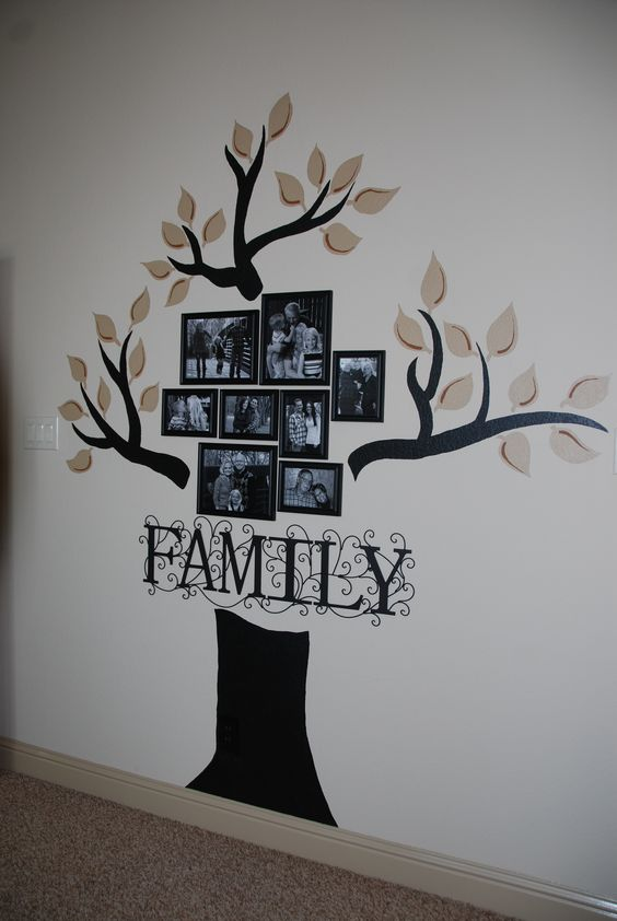 Full view of family tree wall family tree ideas for Family tree picture wall ideas