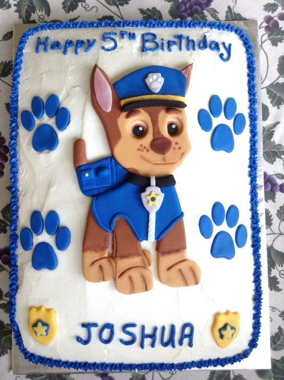 paw patrol chase birthday cake