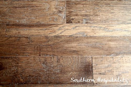 Shaw Floors Broadmoor handscraped engineered hardwood flooring in Warm Sienna and 3 plank sizes (which is how this flooring is sold) is all through the HGTV Green Home.