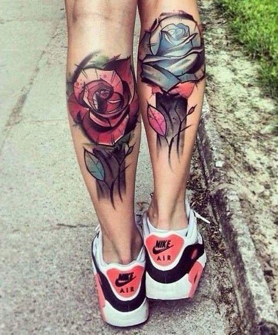 Calf tattoo calves and rose tattoos on pinterest for Womens calf tattoos