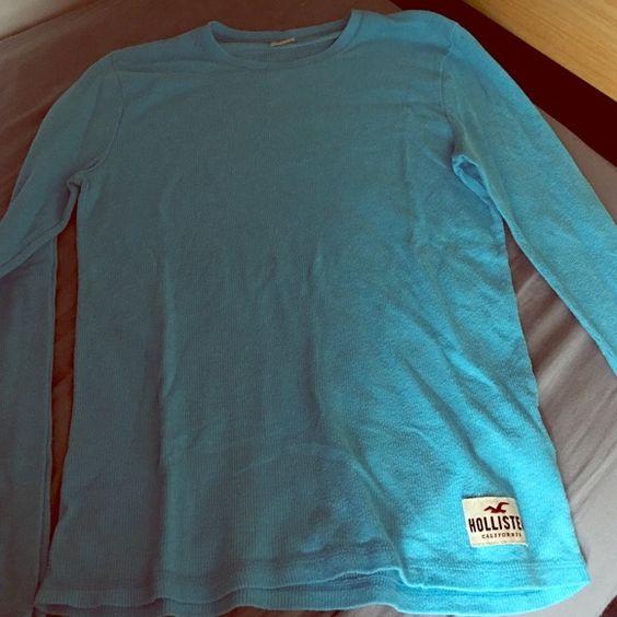 Men's Long sleeve Hollister T-shirt Turquoise long-sleeve Hollister T-shirt. Size M. Wore once. Hollister Tops Tees - Long Sleeve
