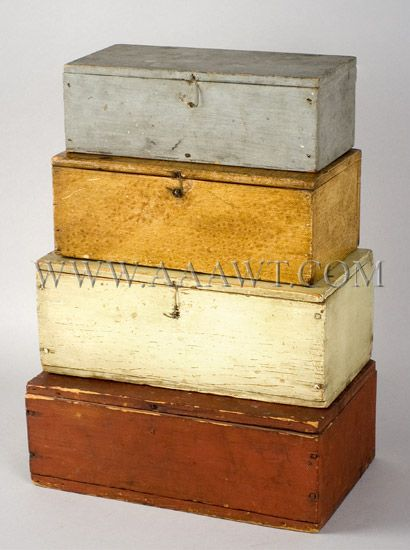 Antique Painted Decorated Boxes, Painted Storage boxes, Document boxes